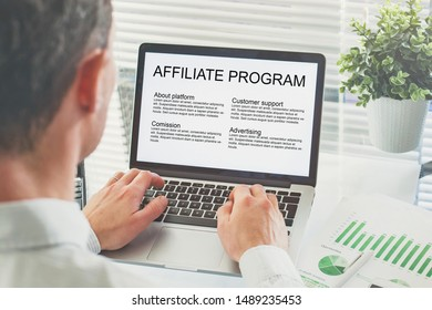 affiliate marketing program, concept on the screen of computer