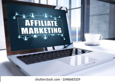Affiliate Marketing text on modern laptop screen in office environment. 3D render illustration business text concept.