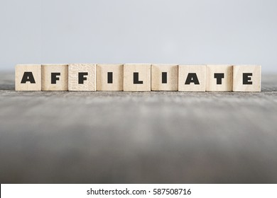 AFFILIATE word made with building blocks