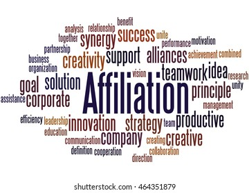 Affiliation,  word cloud concept on white background.