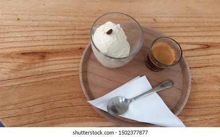 Affogato, Italian coffee, a dessert based on vanilla ice cream with espresso coffee.