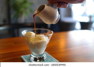 Affogato with a strong espresso on top of ice cream