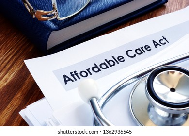 Affordable care act ACA or Obamacare and stethoscope.