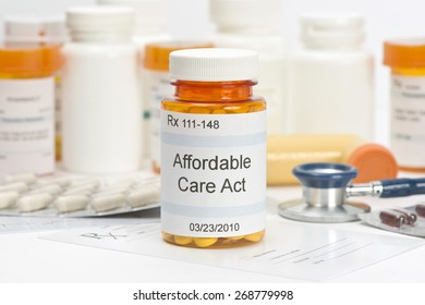 Affordable Care Act pill bottle with prescription and medical supplies.  Labels and all information contained therein are fictitious.