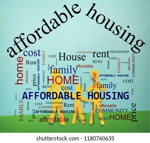 Affordable Housing word cloud and family of three figures