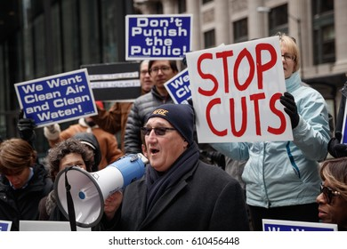 AFGE Local 704 union President Michael Mikulka speaks as Environmental Protection Agency (EPA) workers protest job cuts during rally in Chicago, Illinois, March 2, 2017.