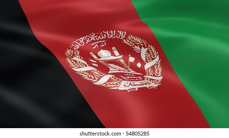 Afghan flag in the wind. Part of a series.
