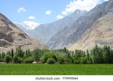 Afghan Wakhan valley as seen from the Tajik border, Pamir Mountain Range, Tajikistan