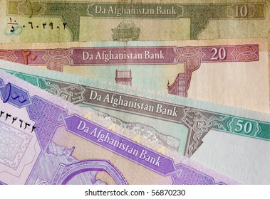 Afghanistan Banknote background English Afghanistan banknotes in a wallpaper background, with english side of notes uppermost.