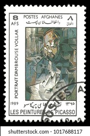 Afghanistan - circa 1989: Stamp printed by Afghanistan, Color edition on Art, shows Painting Portrait Of Ambroise Vollard by Pablo Picasso, circa 1989