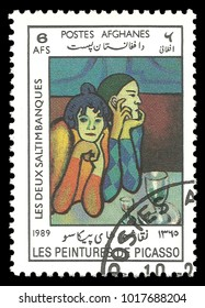 Afghanistan - circa 1989: Stamp printed by Afghanistan, Color edition on Art, shows Painting The Two Saltimbanques by Pablo Picasso, circa 1989