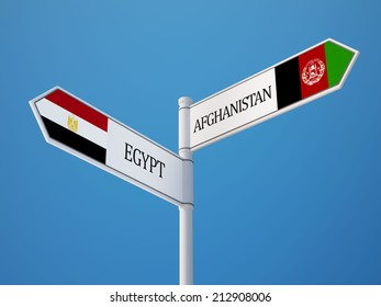 Afghanistan  Egypt High Resolution Sign Flags Concept