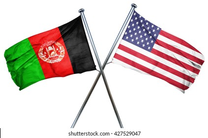 Afghanistan flag with american flag, isolated on white backgroun