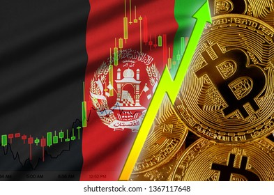 Afghanistan flag and cryptocurrency growing trend with many golden bitcoins