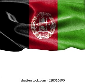 Afghanistan flag on smooth silk texture Space for Text