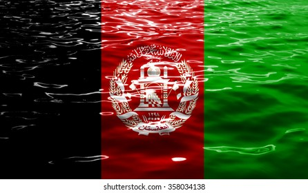 Afghanistan flag on Water background