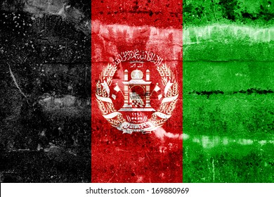 Afghanistan Flag painted on grunge wall