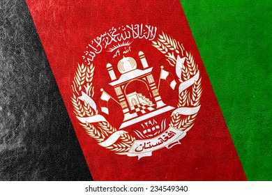 Afghanistan Flag painted on leather texture