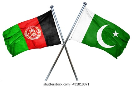 Afghanistan flag with Pakistan flag, 3D rendering