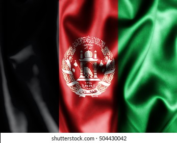 Afghanistan flag pattern on the fabric texture ,vintage style . Waving Afghanistan Flag