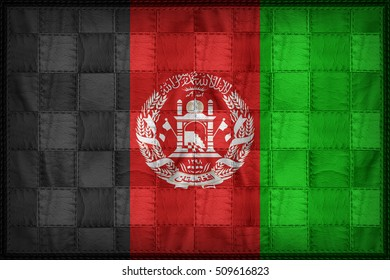 Afghanistan flag pattern on synthetic leather texture, 3d illustration style