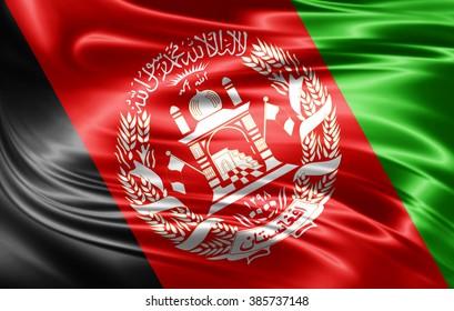 Afghanistan flag of silk