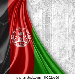 Afghanistan flag of silk with copyspace for your text or images and wall background
