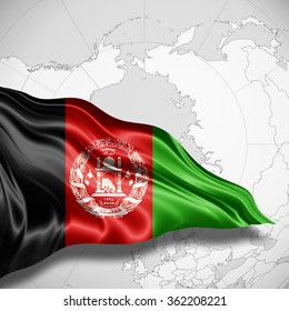 Afghanistan flag of silk with copyspace for your text or images and world map background