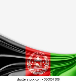 Afghanistan flag of silk with copyspace for your text or images and white background