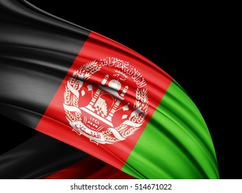 Afghanistan  flag of silk with copyspace for your text or images and black  background -3D illustration