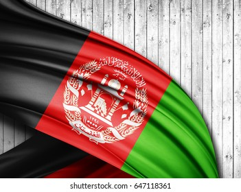 Afghanistan  flag of silk with copyspace for your text or images and wood  background -3D illustration