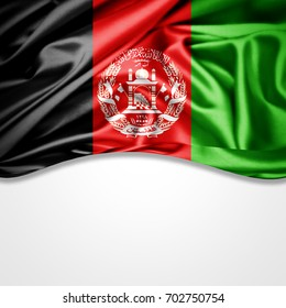 Afghanistan flag of silk with copyspace for your text or images and white background-3D illustration