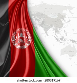 Afghanistan flag of silk with world map and white background