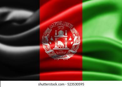 Afghanistan flag of silk-3D illustration