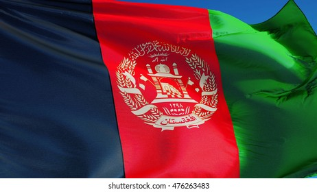 Afghanistan flag waving against clean blue sky, close up, isolated with clipping mask alpha channel transparency, perfect for film, news, digital composition