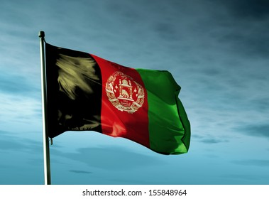 Afghanistan flag waving in the evening