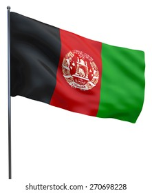 Afghanistan flag waving image isolated on white.