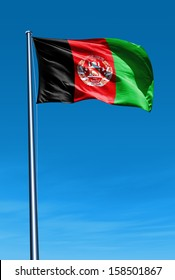Afghanistan flag waving on the wind