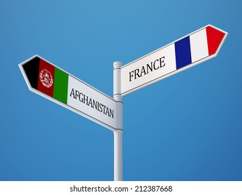 Afghanistan  France High Resolution Sign Flags Concept