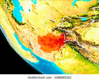 Islamic republic of afghanistan stock images royalty free images afghanistan highlighted in red on planet earth with visible borders 3d illustration elements of gumiabroncs Image collections