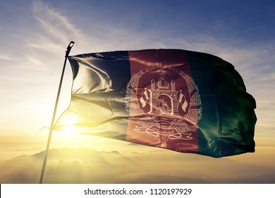 Afghanistan national flag textile cloth fabric waving on the top