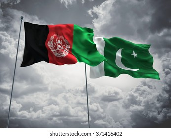 Afghanistan & Pakistan Flags are waving in the sky with dark clouds