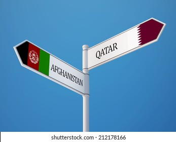 Afghanistan  Qatar High Resolution Sign Flags Concept