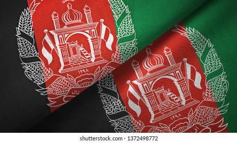 Afghanistan two flags textile cloth, fabric texture