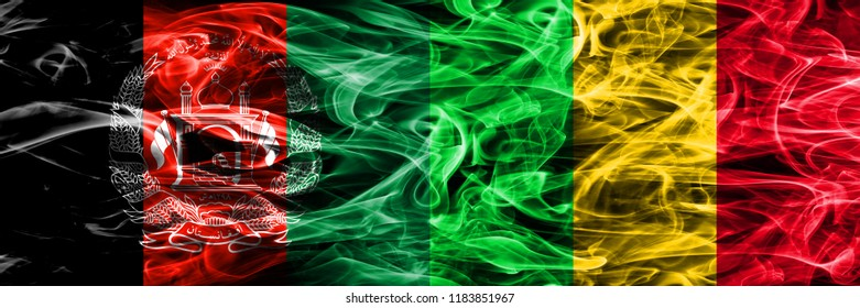 Afghanistan vs Mali smoke flags placed side by side. Thick colored silky smoke flags of Afghani and Mali