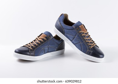 Afife, Portugal - June, 2017: Innovation Casual Sneakers. Innovation, Portuguese Shoes company. Isolated on white. Product shots