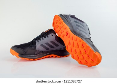 Afife, Portugal - October 24, 2018: Adidas Running boots. Adidas, multinational company. Isolated on white. Product shots