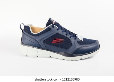 Afife, Portugal - October 25, 2018:  Skechers Running boots. Skechers, multinational company. Isolated on white. Product shots