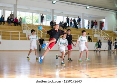 Afife, Viana do Castelo, Portugal - 1 December 2018: Children's handball tournament organized by the Afifense Sports Association to promote sport for children on December 1, 2018.