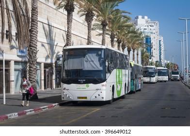 Afikim buses lined up next to the Ashdod main bus station. Israeli public transportation system. Ashdod, Israel, April 2014.